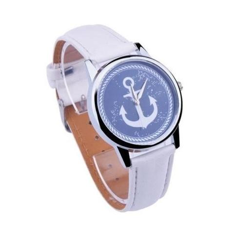 Часы с серебряным якорем (белый)