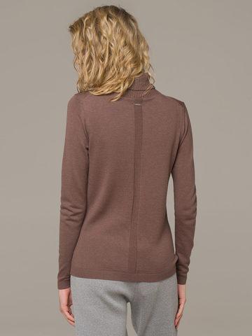 Женский джемпер коричневого цвета из шерсти и шелка - фото 3