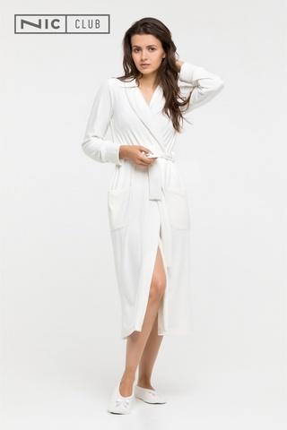 Молочный Велюровый халат с балетками Nic Club Petra 1701
