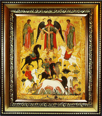 Чудо о Флоре и Лавре.  Копия  иконы XV века на холсте.