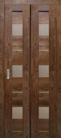 Дверь складная Дубрава Сибирь Параллель (2 полотна + 2 петли), стекло матовое, цвет дуб шоколадный, остекленная