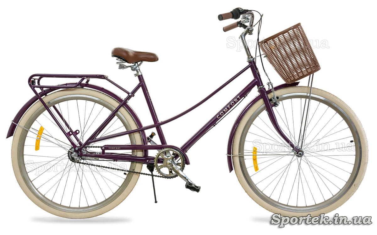 Городской женский велосипед Dorozhnik Comfort Female PH с планетарной втулкой фиолетовый