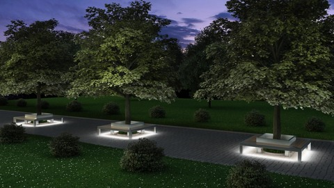 TRIF-MEBEL Скамья четырехугольная СИТИ антивандальная с LED подсветкой