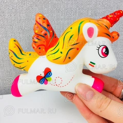 Единорог Бен Рыжий с бабочкой Сквиши антистресс игрушка