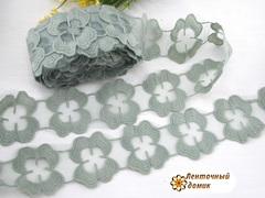Кружево цветы-лейсы зеленая дымка 53 мм
