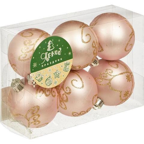 Новогоднее украшение набор из 6 шаров, d=6см, розовый с золотым рис., 16535