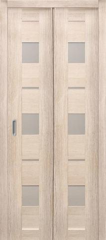 Дверь складная Дубрава Сибирь Параллель (2 полотна + 2 петли), стекло матовое, цвет лиственница кремовая, остекленная