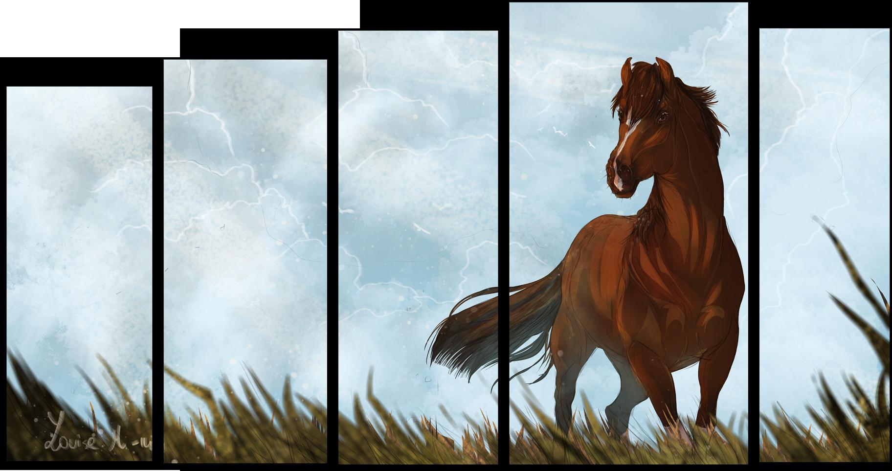 """Животные Модульная картина """"Лошадь на фоне облаков"""" М734.png"""