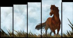 """Модульная картина """"Лошадь на фоне облаков"""""""