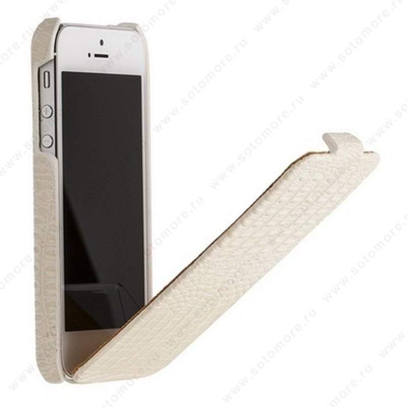 Чехол-флип Borofone для iPhone SE/ 5s/ 5C/ 5 - Borofone Crocodile flip Leather case White
