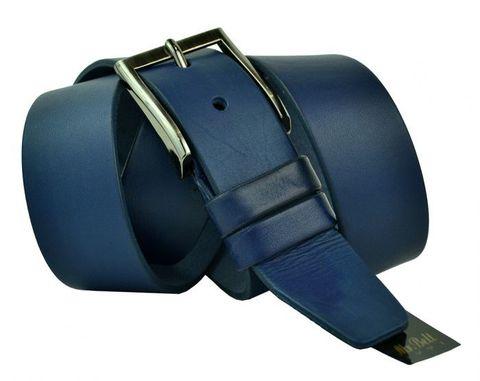 Качественный широкий мужской джинсовый синий ремень 40 мм из натуральной кожи производства России 40maybik-029