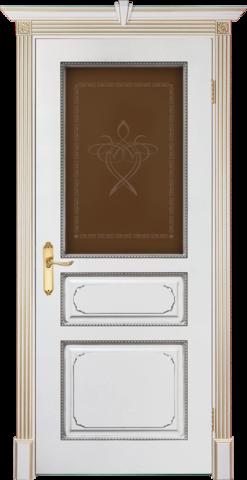 Дверь Prestigio Версаль-5, цвет  слоновая кость/патина орех, остекленная