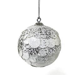 Шар новогодний декоративный Paper ball, серебристый мрамор EnjoyMe