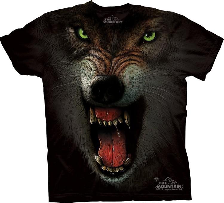 _Футболка Mountain с изображением оскалившегося волка  - GRRRRRR