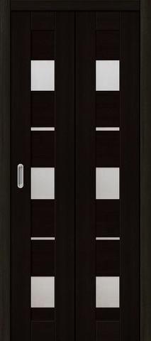 Дверь складная Дубрава Сибирь Параллель (2 полотна + 2 петли), стекло матовое, цвет акация чёрная, остекленная
