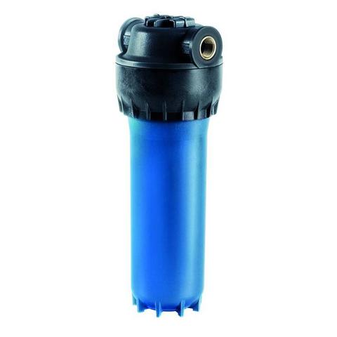 Армированный корпус синего цвета фильтра предварительной очистки Аквафор для холодной воды.