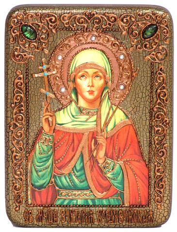 Инкрустированная Икона Святая мученица Виктория Кордувийская 20х15см на натуральном дереве, в подарочной коробке