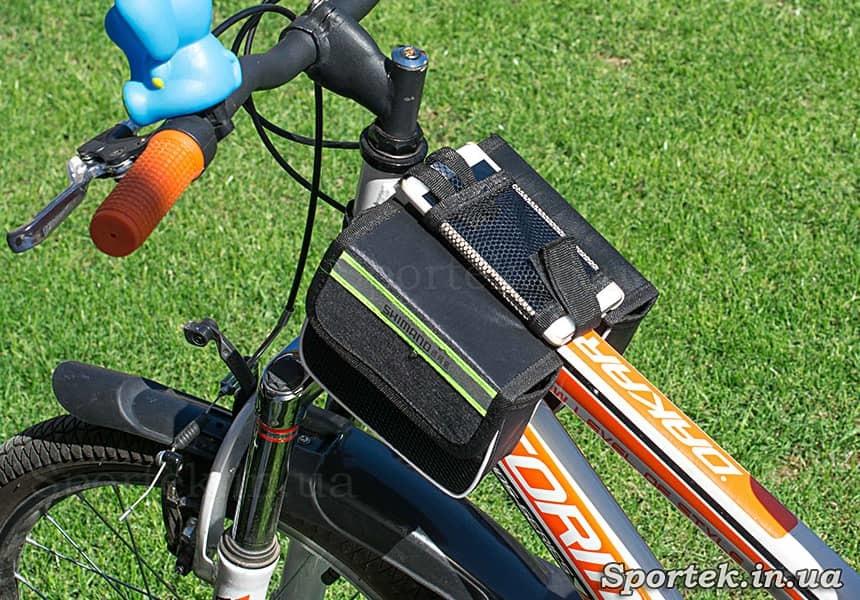 Велосумка Shimano на раме велосипеда