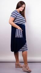 Колаж літо. Трикотажна сукня плюс сайз. Синій.