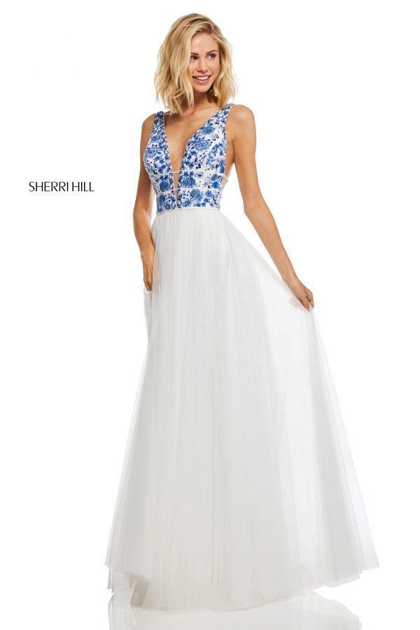 Sherri Hill 52672 Длинное и пышное платье с вырезом