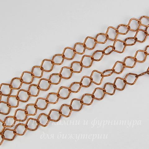 """Цепь """"Ромб"""" (цвет - античная медь) 9х9 мм, примерно 1 м"""