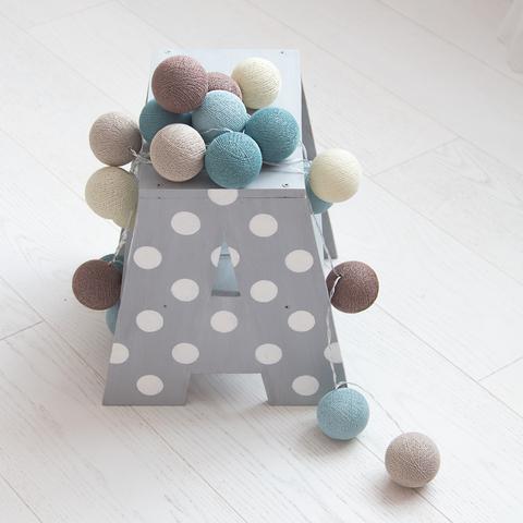Гирлянда из хлопковых шариков Морская соль