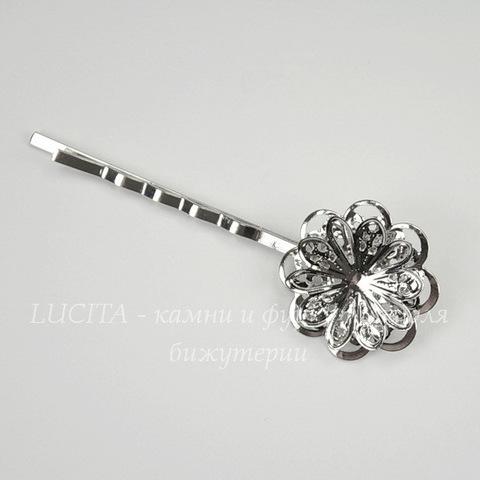 Основа для заколки - невидимки 62 мм с филигранным цветком 22 мм (цвет - никель)