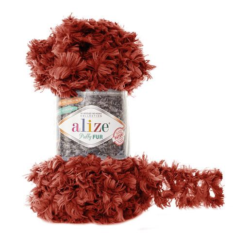 Купить Пряжа Alize Puffy Fur Цвет 6118 Терракотовый | Интернет-магазин пряжи «Пряха»