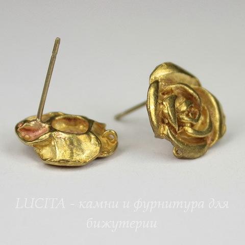 """Пуссеты - гвоздики """"Роза"""" 14 мм (цвет - золото)(без заглушек)"""