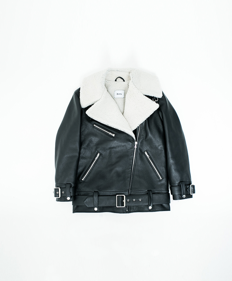 Зимняя кожаная куртка Moto Coat