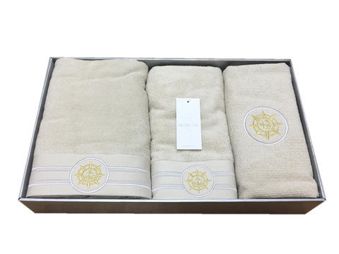 Набор полотенец  ELEGANGE - ЭЛЕГАНЗ  с ковриком бежевый Maison Dor (Турция)