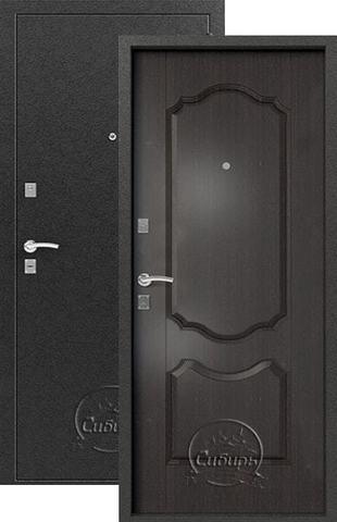 Стальная дверь Сибирь S-1/1, 1 замок, 1 мм  металл (серебро+венге)
