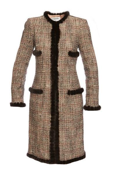 Роскошное твидовое пальто с отделкой норкой, Chanel, 42 размер