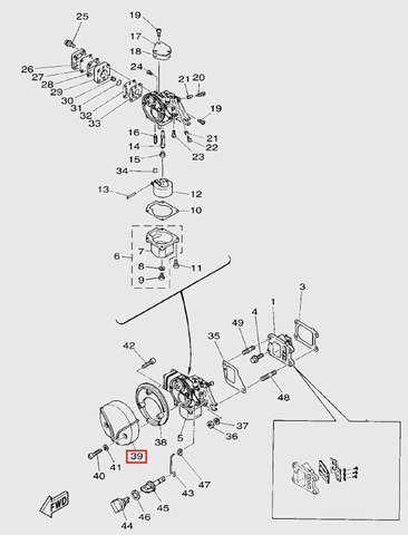 Крышка2 карбюратора для лодочного мотора T5 Sea-PRO (3-39)