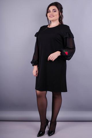 Роуз. Стильное платье плюс сайз для женщин. Черный.