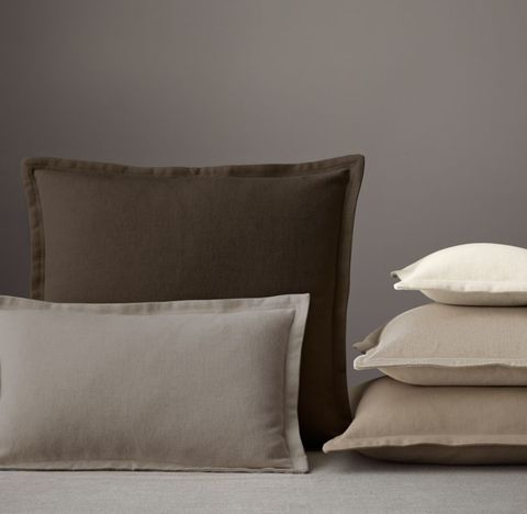 Custom Brushed Linen Cotton Flanged Pillow Cover