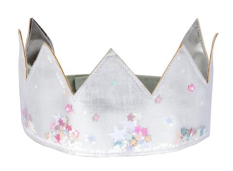 Корона серебряная с пайетками, тканевая