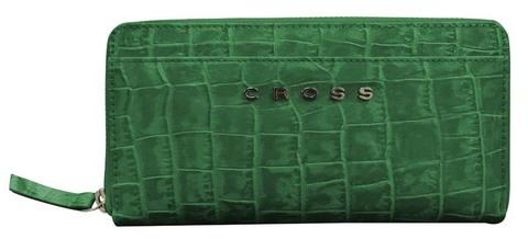 Кошелёк Cross Bebe Coco, кожа наппа фактурная, цвет зелёный/рыжий, 18,8 х 10,2 х 1,5 см
