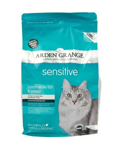 Arden Grange Adult Sensitive корм беззерновой для кошек с Океанической белой рыбой и картофелем 400г