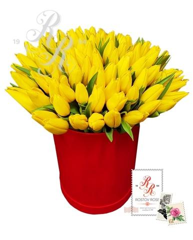 Желтый тюльпан в коробке