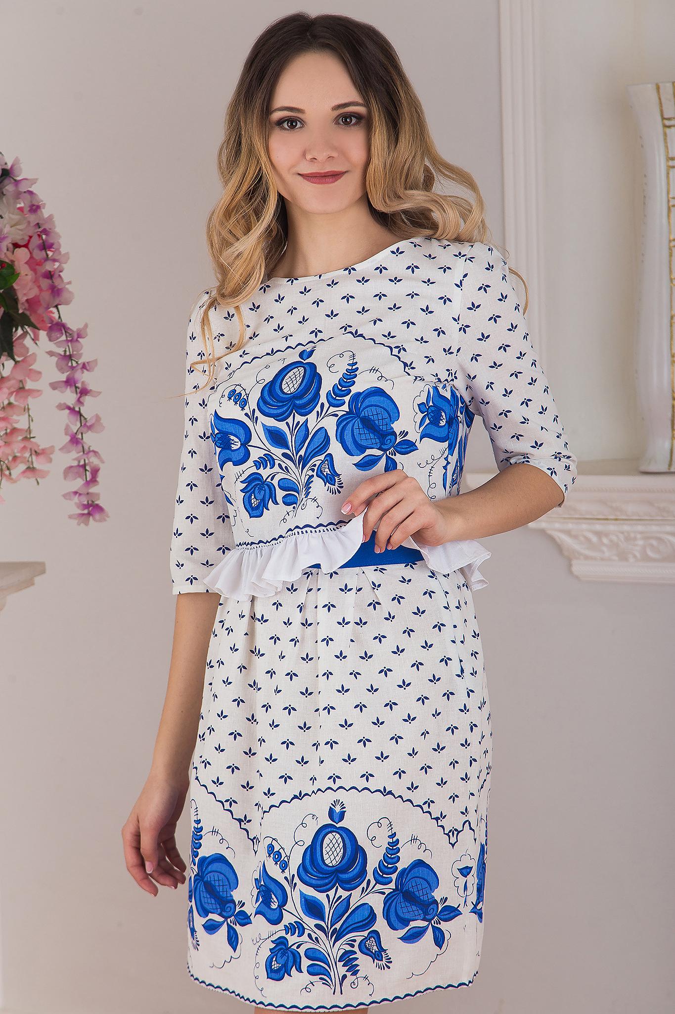 Блуза Гжель приближенный фрагмент