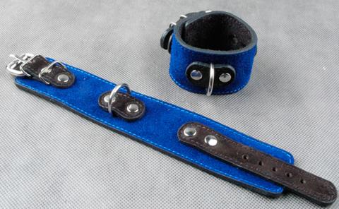 Велюровые БДСМ наручники узкие прошитые