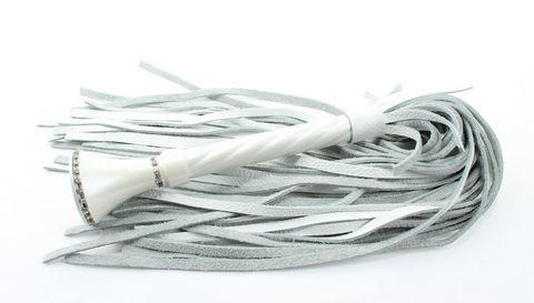 Роскошная белая плеть из кожи - 60 см.