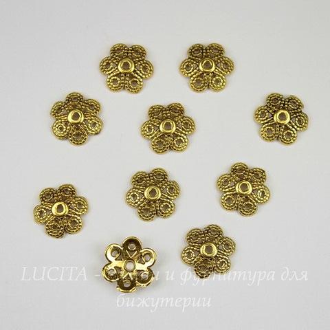 """Шапочка для бусины """"Цветок 6 лепестков"""" (цвет - античное золото) 12х3 мм, 10 штук"""