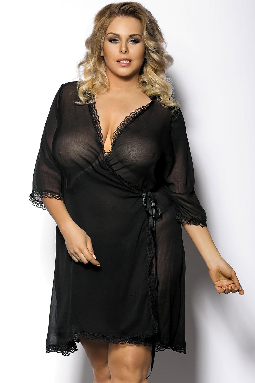 Черный пеньюар для полных женщин (Короткие халаты)