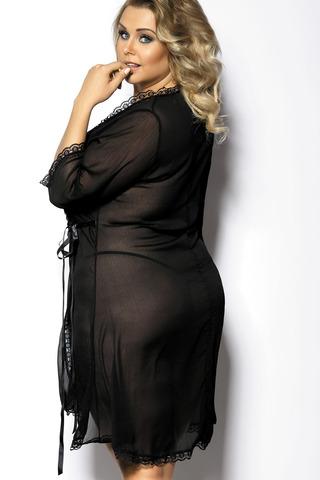 Черный сексуальный эротичный красивый стройнящий прозрачный пеньюар для полных больших размеров вид сзади