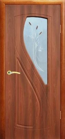 Дверь Сибирь Профиль Рада, цвет итальянский орех, остекленная