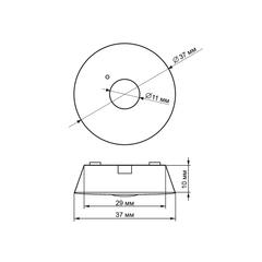 Точечные аварийные светильники, встраиваемые в потолок PL CL 1.2 – размеры светильника
