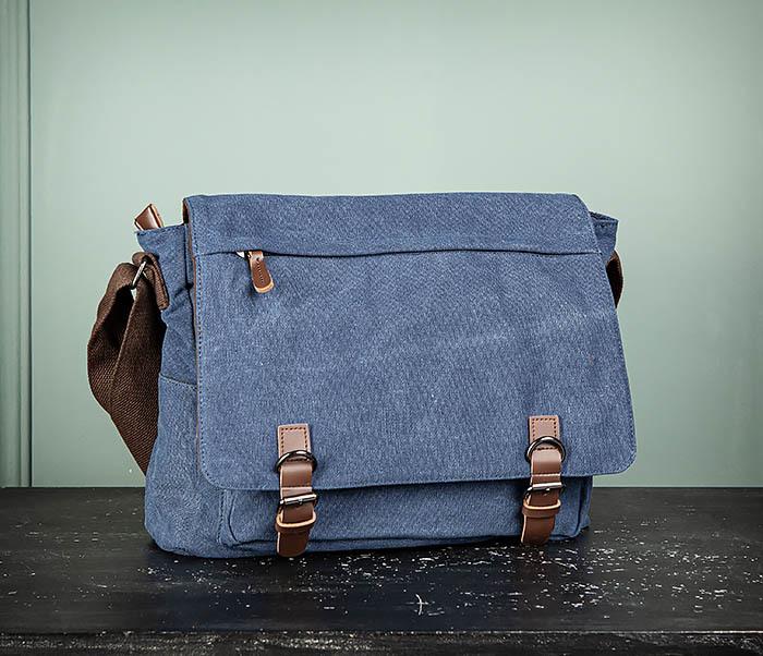 BAG504-3 Мужской портфель из плотного текстиля синего цвета