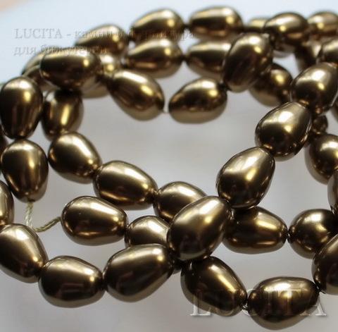 5821 Хрустальный жемчуг Сваровски Crystal Antique Brass  грушевидный 11х8 мм ()